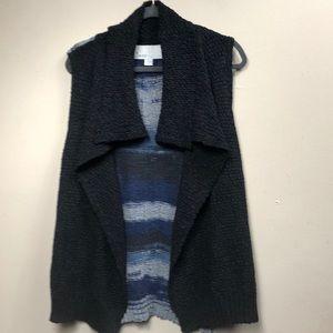 Curio New York Black & Blue Open Collared Cardigan